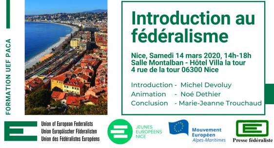 Formation à Nice le 14 mars 2020 : une introduction au fédéralisme